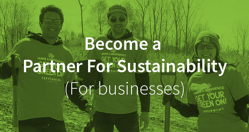 Become a Partner for Sustainability. (for businesses). Image of a group planting trees